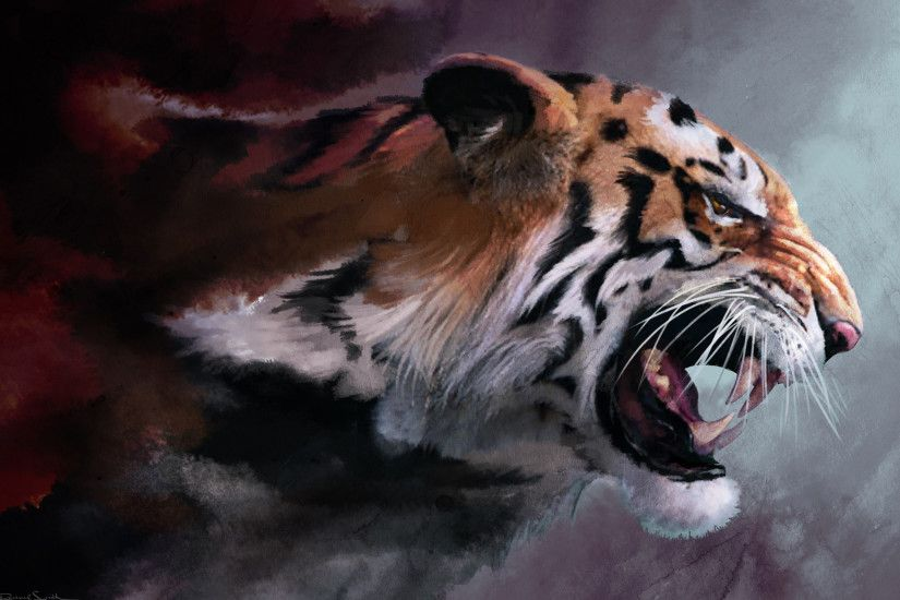wild cat, big cat, tiger, fangs, maw, art, paint