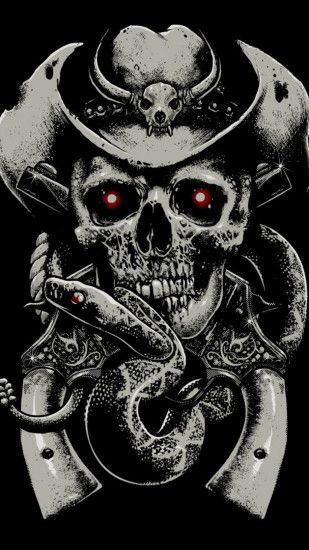 1440x2560 Wallpaper skull, fear, hat, guns, snake, background