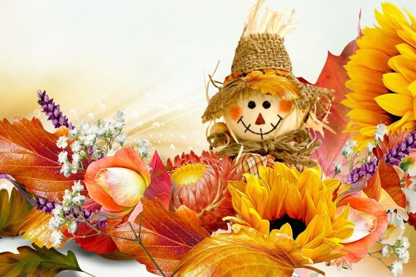 Scarecrow Tag - Autumn Happy Leaves Orange Basics Scarecrow Flowers Smile  Gold Fall Rose Doll Sunflowers