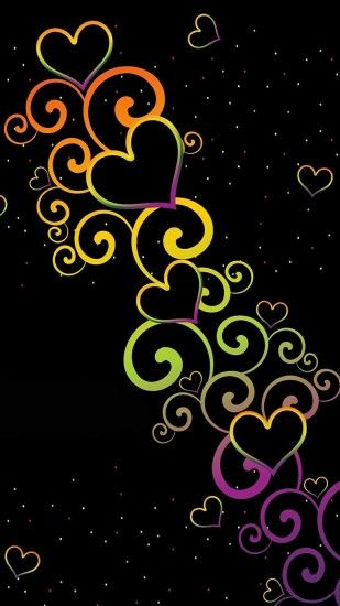 Black rainbow hearts background
