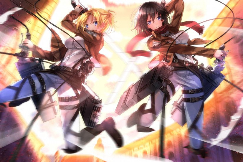 Action Anime Girls Annie Leonhart Belts Black Hair Blondes Blue Eyes Boots  Buildings Cities Jackets Mikasa Ackerman Outdoors Pants Shingeki No Kyojin  Shirts ...