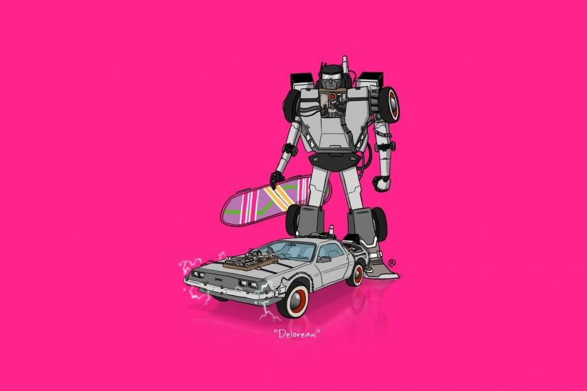 car, Transformers, Minimalism, DeLorean, Back To The Future Wallpaper HD