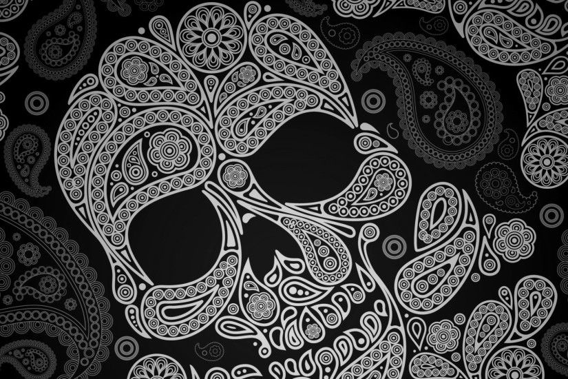 Paisley Skull Wallpaper 48819