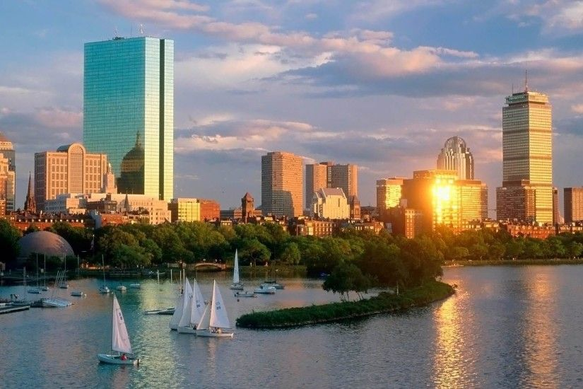 Boston Skyline HD Wallpaper.