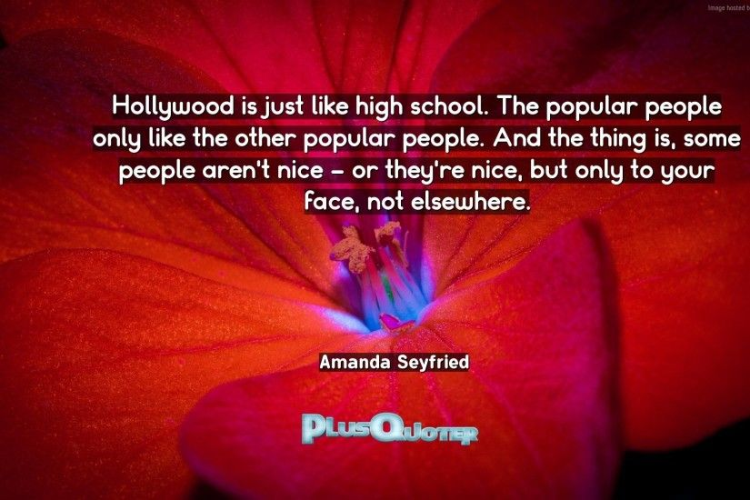 "Download Wallpaper with inspirational Quotes- ""Hollywood is just like high  school. The popular"