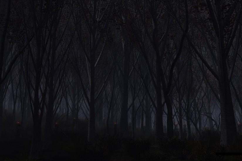 Forest Trees Night Creepy demons creature monsters evil dark wallpaper .