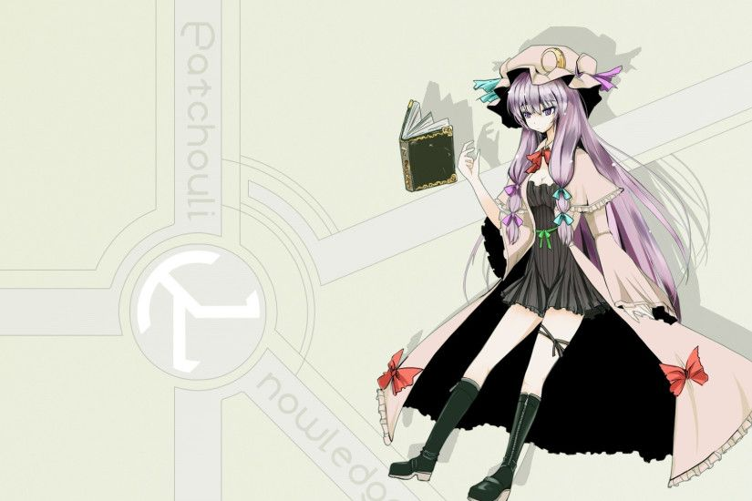 Preview wallpaper touhou, patchouli knowledge, girl, dress, book, hat  1920x1080