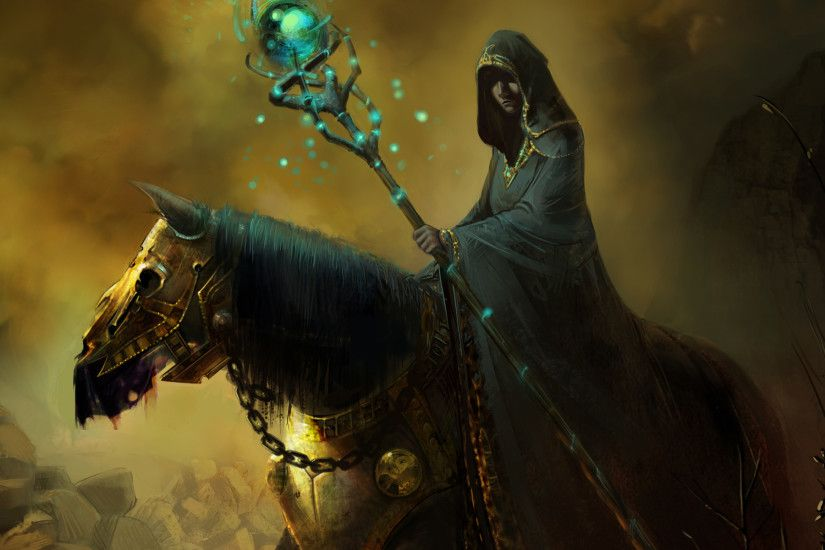 art horse armor mage warlock coat stick magic hood wallpaper