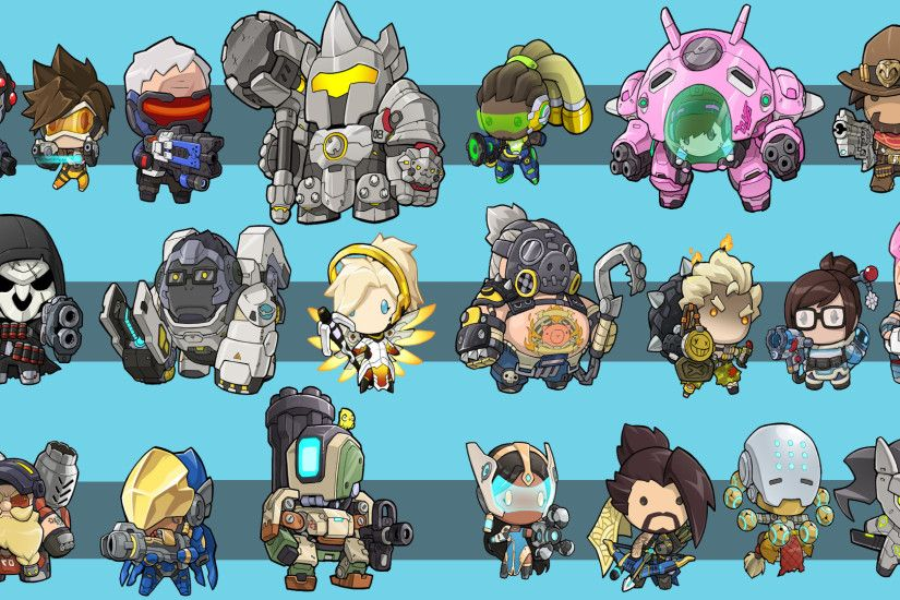 Video Game - Overwatch Chibi Pharah (Overwatch) Mei (Overwatch) Winston  (Overwatch