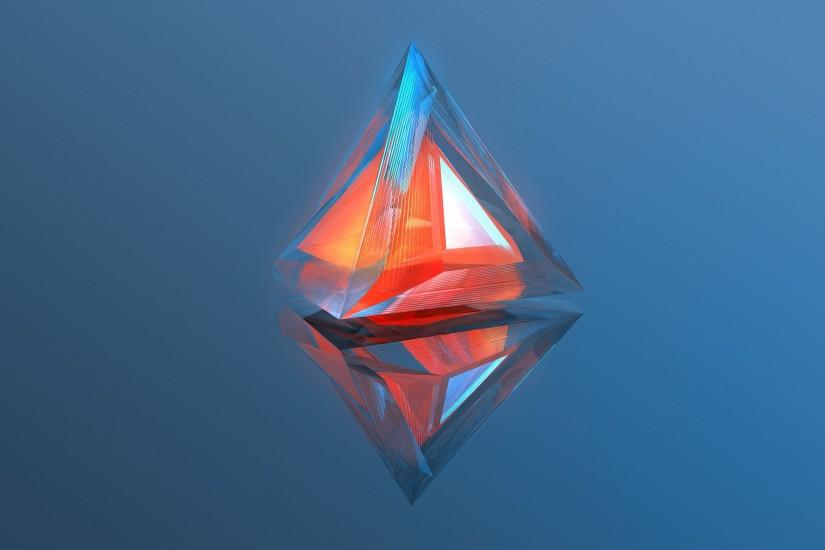General 2560x1440 digital art abstract minimalism geometry blue background  3D triangle reflection warm colors MKBHD