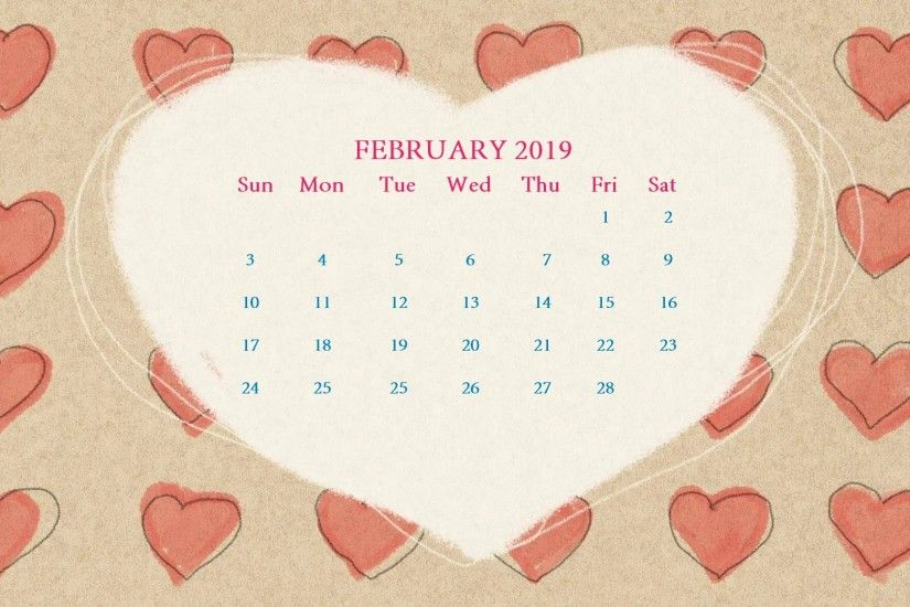 February 2019 Desktop Calendar Wallpaper