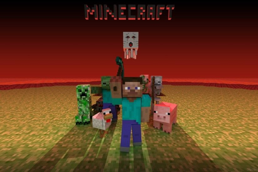 1920x1080 Wallpaper minecraft, mobs, creeper, snake, zombie, chicken, pig,