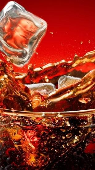 Preview wallpaper coca-cola, ice, glass, splashes 1080x1920