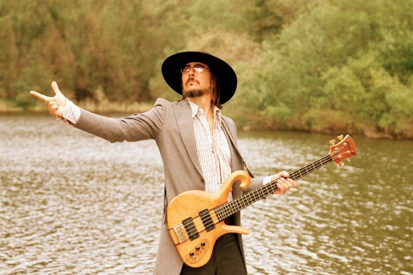 Preview wallpaper primus, guitar, lake, hat, daylight 1920x1080