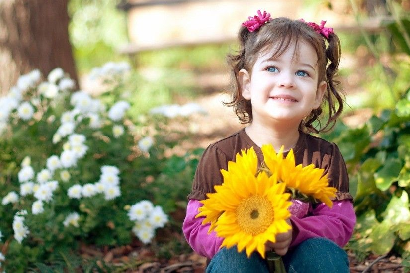 Child, Girl, With, Sunflowers, Images, Free Stock Photos, Desktop Images,  Iphone Wallpaper, Amazing, Colorful, Widescreen, Hd, Digital, 1920×1200  Wallpaper ...