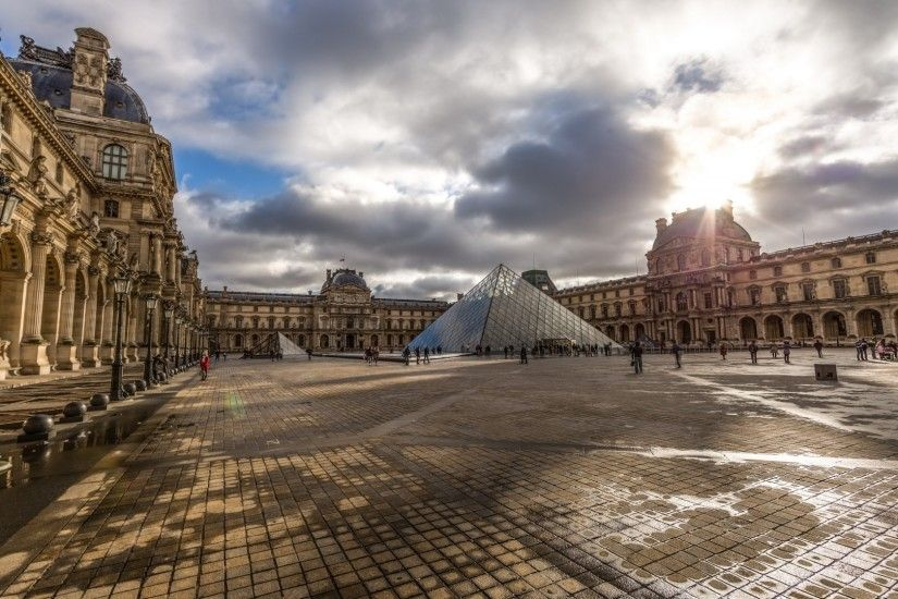 Modern - Wondrous Louvre Museum Paris Stretched Modern Courtyard Clouds Old  Wallpapers for HD 16: