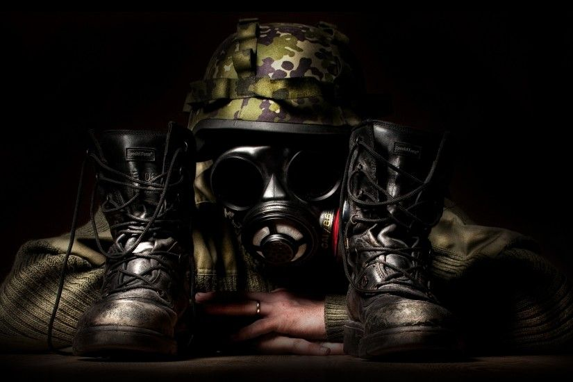 Preview wallpaper camouflage, mask, shoes, creative, military 3840x2160