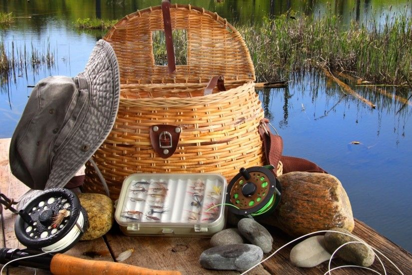 Wallpaper fly fishing equipment, spring, basket wallpapers miscellanea .