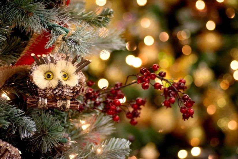christmas tree spruce toys christmas christmas owl holly berries red  decoration holiday new year christmas new