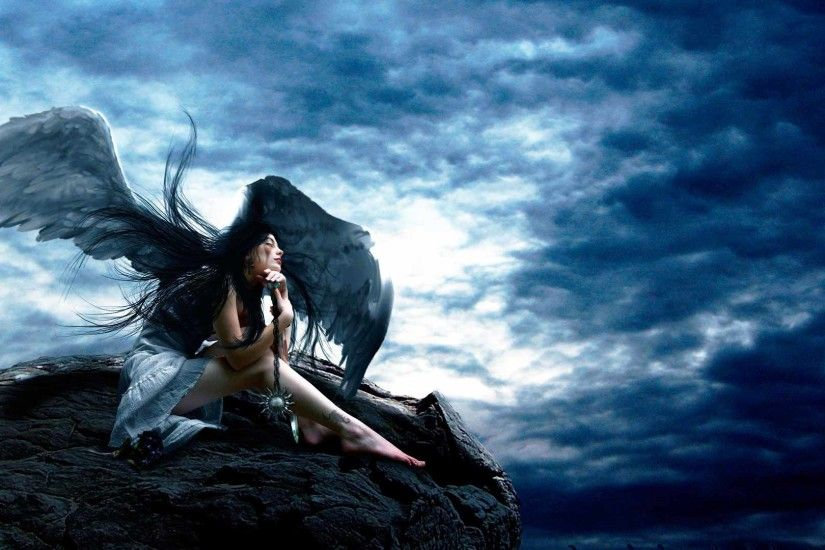 Preview wallpaper angel, sky, rocks, height, wings, girl, amulet,