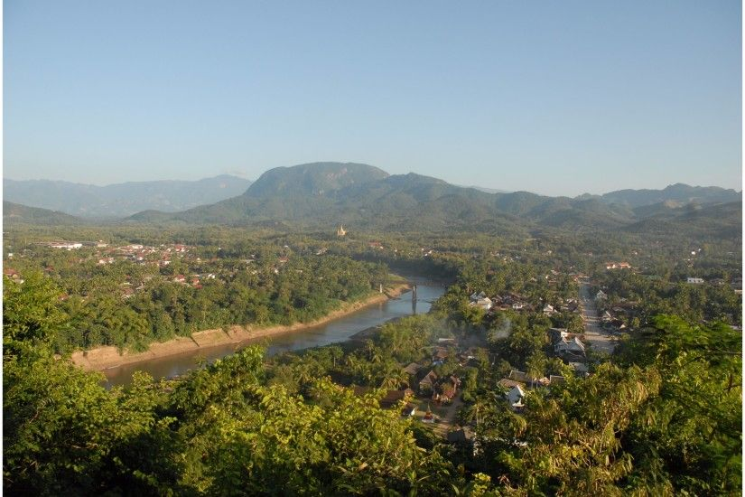 Overhead View Luang Prabang Laos 4K Wallpaper