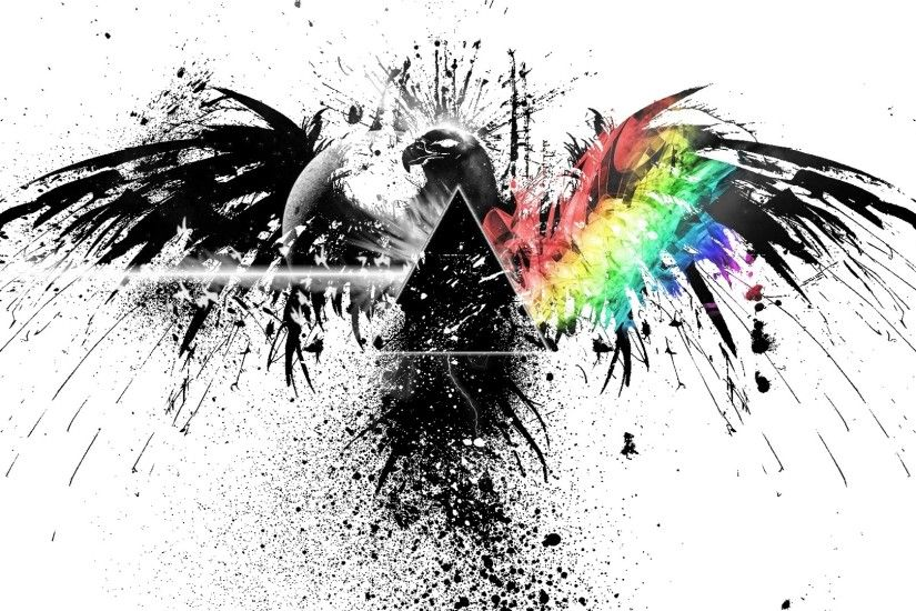 Download now full hd wallpaper pink floyd black and white rainbow eagle  graffiti spray ...