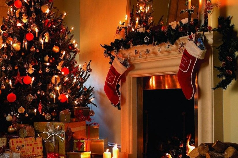 christmas tree, gifts, candles