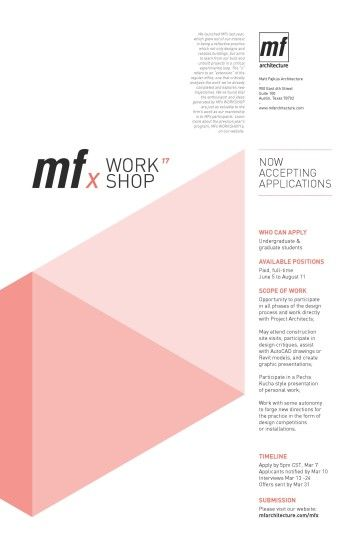 Call for Applications: MFx WORKSHOP!