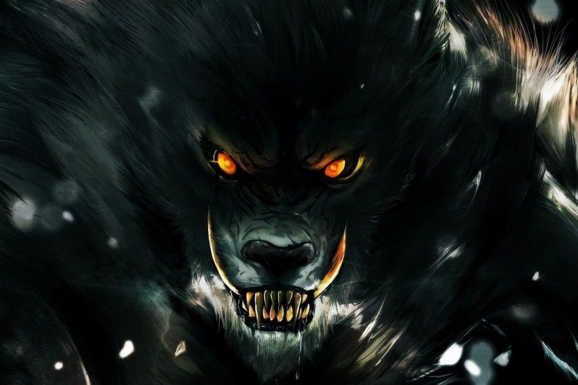 Werewolf fantasy art dark monster creatures blood fangs trees .