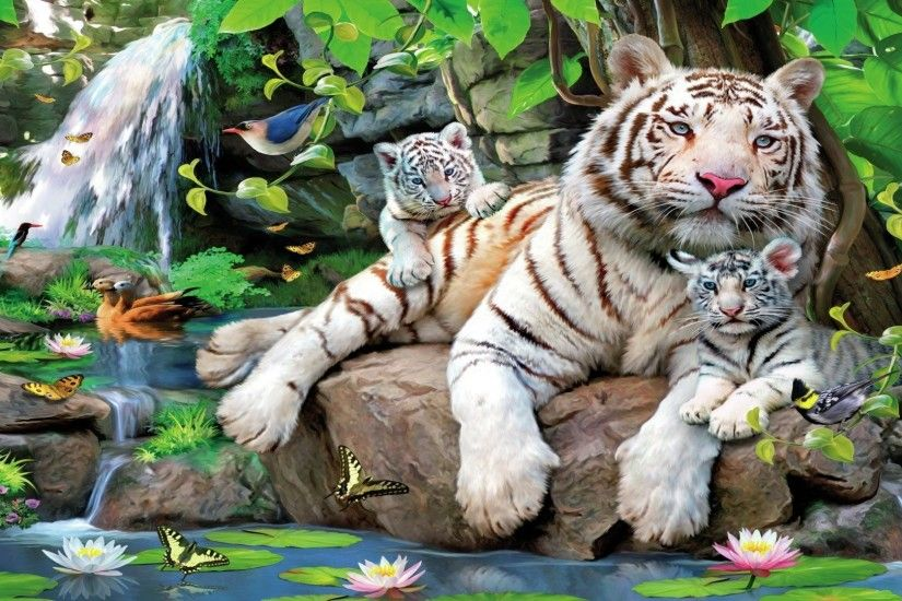 Animal - White Tiger Artistic Tiger Cub Pond Water Lily Bird Butterfly Leaf  Tree Wallpaper