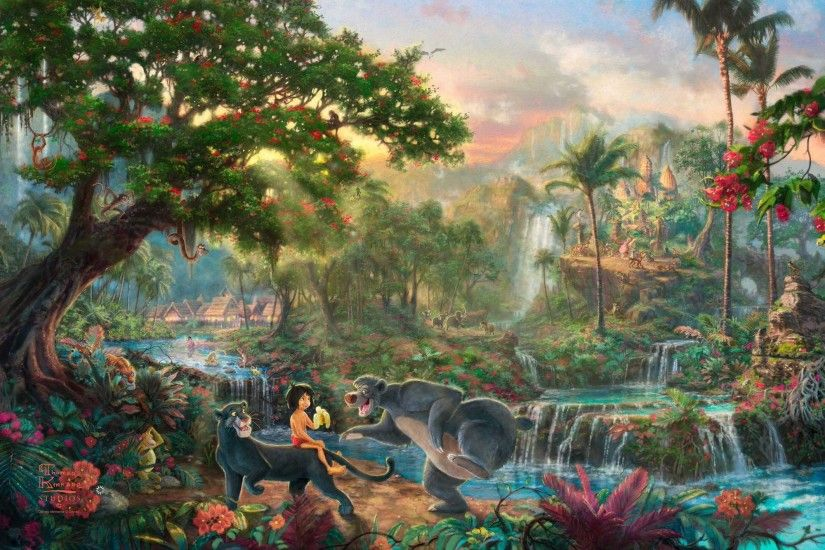 Image - Kinkade-Wallpaper-The-Jungle-Book-Thomas-Kinkade-STUDIOS-Walt-Disney-painting-animation.jpg  | Disney Wiki | FANDOM powered by Wikia