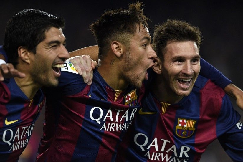 Barcelona Players Celebrations Luis Suarez Neymar Messi After The Goal