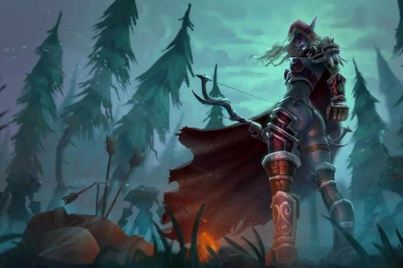 1920x1080 White hunting sylvanas windrunner ears drow ranger wallpaper