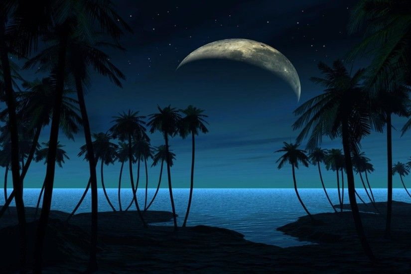 wallpaper.wiki-Download-Free-Beach-At-Night-Photo-