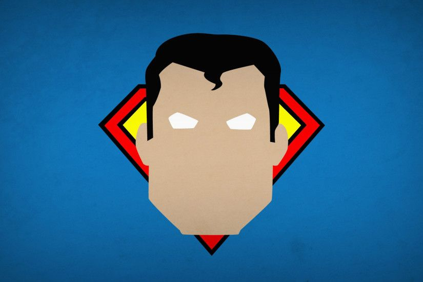 Superman head on a blue wall wallpaper