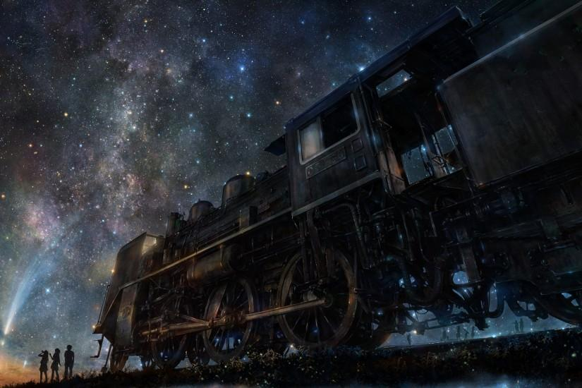 Night Train and Starry Sky Wallpaper