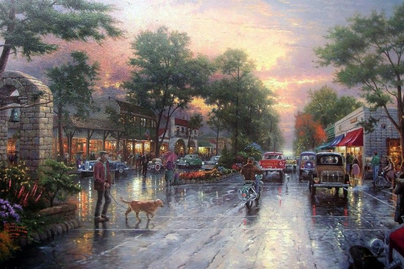 thomas kinkade carmel sunset on ocean avenue painting avenue cars city town  houses kinkade street sunset