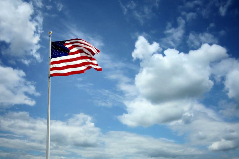 Subscription Library American Flag waving in slow motion on beautiful  timelapse blue sky and cloud background