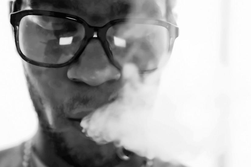 Preview wallpaper kid cudi, smoke, glasses, face, bristle 1920x1080