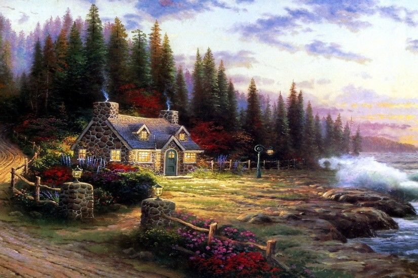 Pics Photos - Kinkade Spring Desktop Wallpaper Thomas Kinkade Wallpapers  For Desktop Pictures