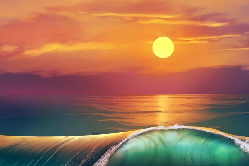 3840x1200 Wallpaper art, sunset, beach, sea, waves