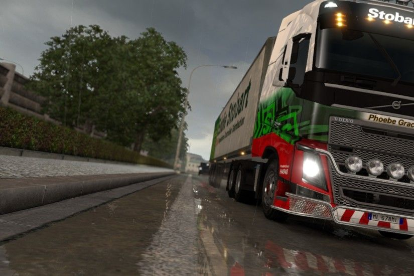 Euro Truck Simulator 2, Rain, Reflection, Truck, Lorry, Trees, Volvo