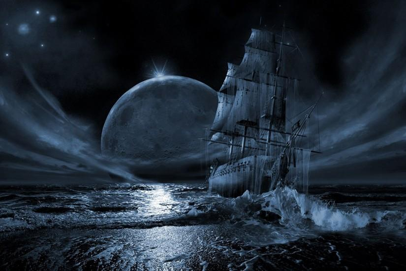water stars moon ships nighttime HD Wallpaper