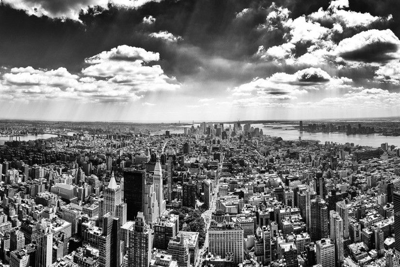 1920x1080 Wallpaper new york, top view, overview, view, black white