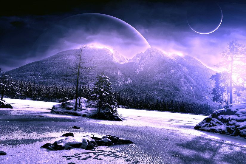 Scenery Winter Planet Mountains Snow Nature Fantasy Mood Wallpaper At Fantasy  Wallpapers