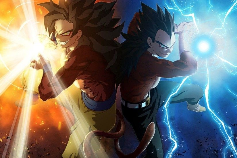 Images For > Dbz Wallpaper Goku And Vegeta Ssj4