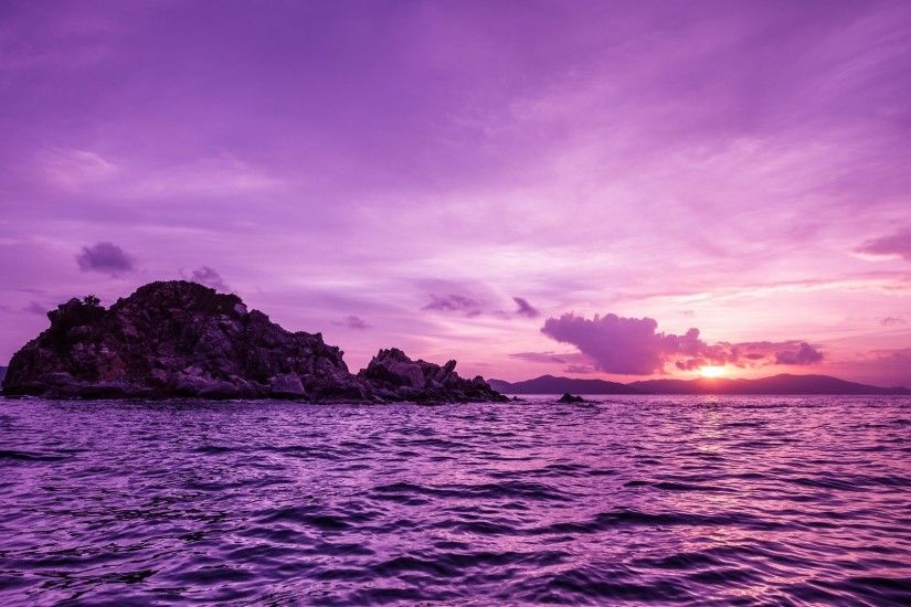 nature, Sea, Sunset, Island, Purple Wallpapers HD / Desktop and Mobile  Backgrounds