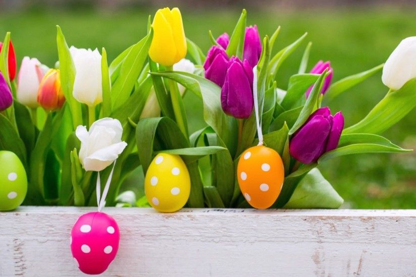 Easter Eggs With Beautiful Background