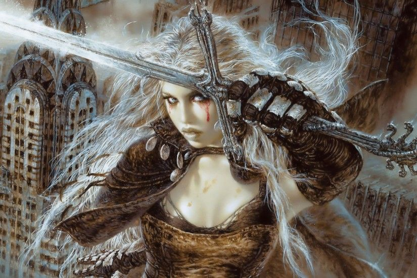 Download Luis Royo Fantasy Warrior Painting Art Sexy Babe Wallpaper At  Fantasy Wallpapers