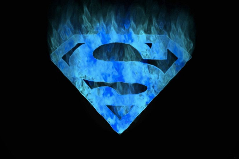 Blue flames superman symbol.